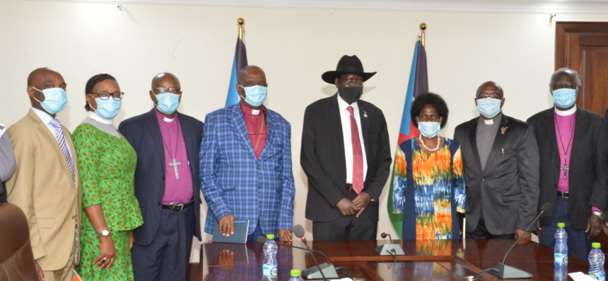 President Kiir posting for a picture with religious leaders at his residence in J1-Juba(Photo credit: courtesy image/J1)