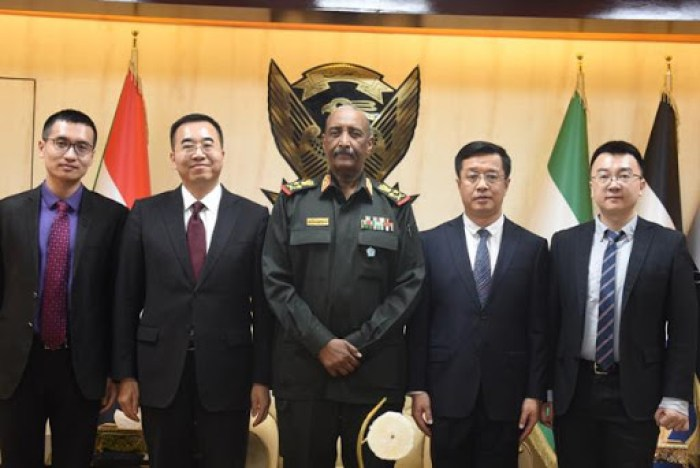 Mr. Ma Xinmin, the Chinese Ambassador to Sudan and his delegation meets Mr Al Burhan, the President of the Sovereignty Council of Sudan in Khartoum in January 2020(Photo credit: courtesy image/Chinese embassy in Sudan)