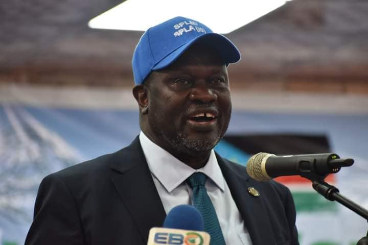 Dr. Riek Machar Teny, First Vice President, Chairman and Commander-in-Chief of the SPLM/A-IO speaking at the National Conference on December 1, 2020(Photo credit: courtesy image/Nyamilepedia)