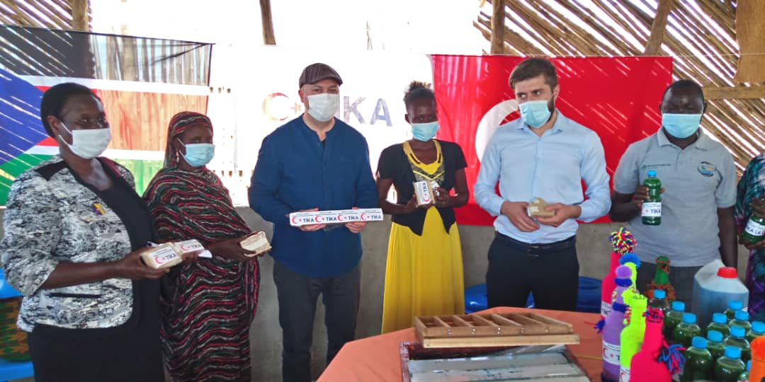 TIKA aid agency donates materials to be used in soap making to support women economically(Photo credit: TIKA)
