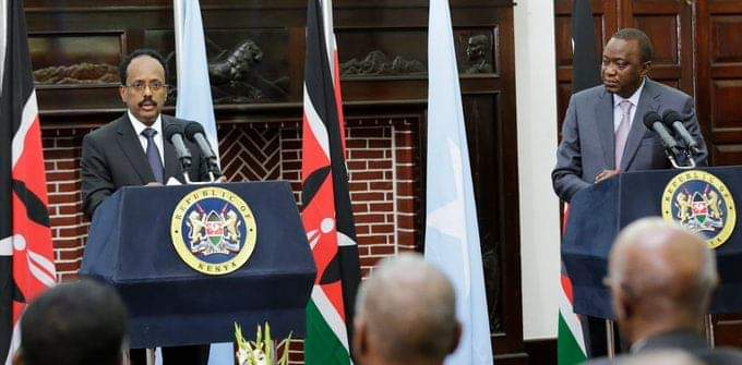 Kenyan President, Uhuru Kenyatta holding a press conference with the Somalian President Mohamed Abdullahi Mohamed(Photo credit: supplied)