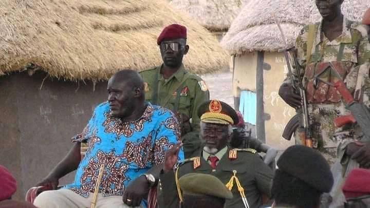 SPLA-IO Generals, Chief of Staff, 1St. Lt. Gen. Simon Gatwech Dual and Lt. Gen. Johnson Olony in SPLM/A-IO controlled area(Photo credit: file)