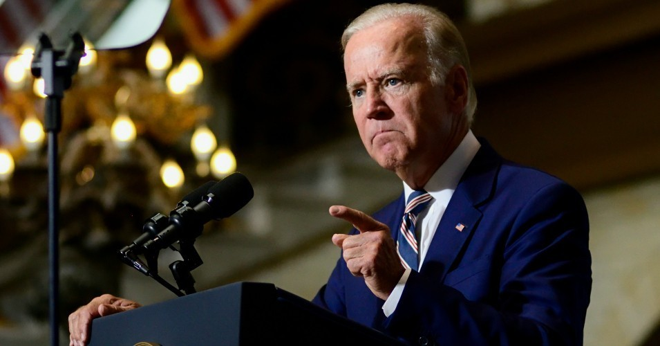 Joe Biden speaking at a campaign event for Hillary Clinton at a September 27, 2016 rally at Drexel University, in Philadelphia. (Photo: Bastiaan Slabbers/NurPhoto via Getty Images)