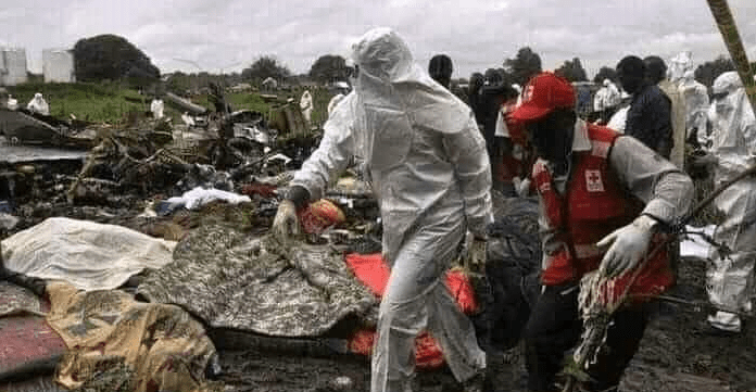 A South Sudan Airline crashed in Peiri, Uror County, killing all the ten people onboard(Photo credit: supplied)