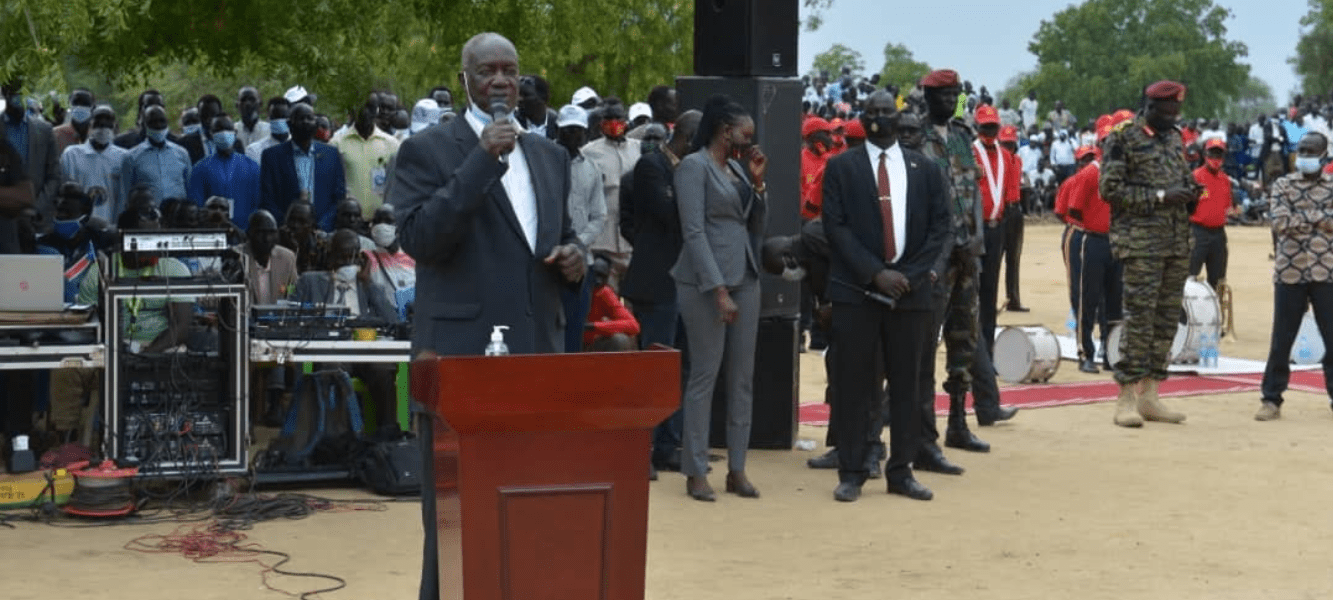 General Kuol Manyang Juuk giving his re-conciliatory speech in Bor, Jonglei State, on April 1, 2021(Photo credit: courtesy image)