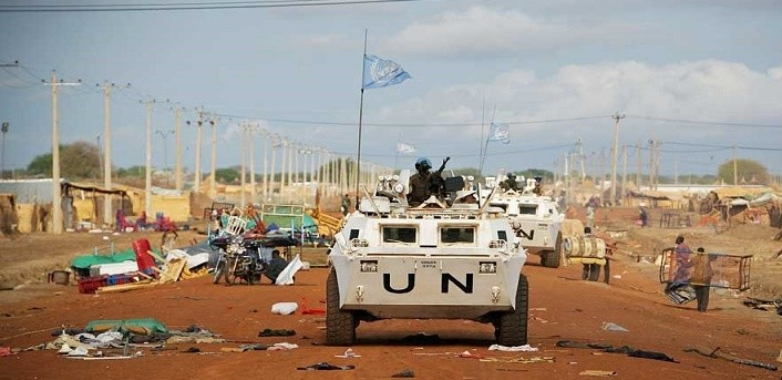 Members of UN Interim Forces for Abyei patrolling the Street of Abyei in 2017(Photo credit: UNISFA/Nyamilepedia)