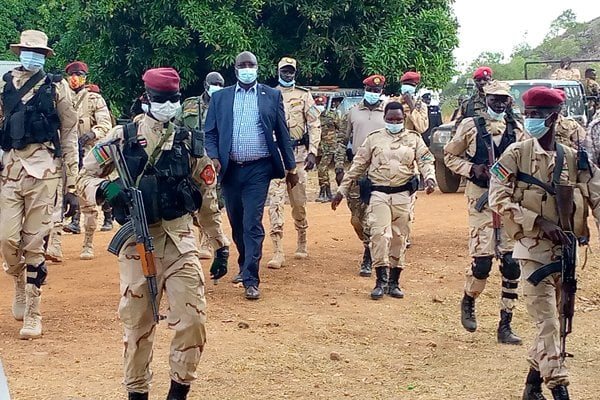 """CE Governor Emmanuel Adil Anthony matching to the borders with his """"commandos"""" last month to meet with Ugandan officials(Photo credit: courtesy file/Nyamilepedia)"""