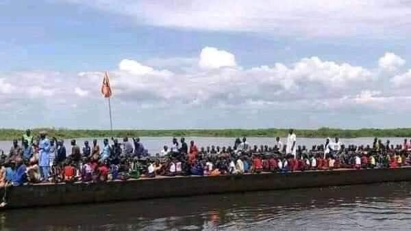 A viral boat used on social media to depict a joke that men from Lakes State are crossing over to Jonglei state to join circumcision event(Photo credit: supplied)