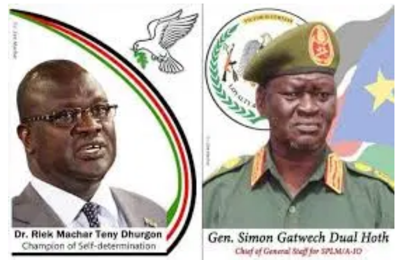 First Vice President, Dr. Riek Machar Teny and the Chief of Staff, Lt. Gen. Simon Gatwech Dual(Photo credit: courtesy image/Nyamilepedia)