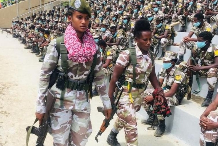 Tigray forces at a stadium in the capital, Mekelle(Photo credit: supplied)