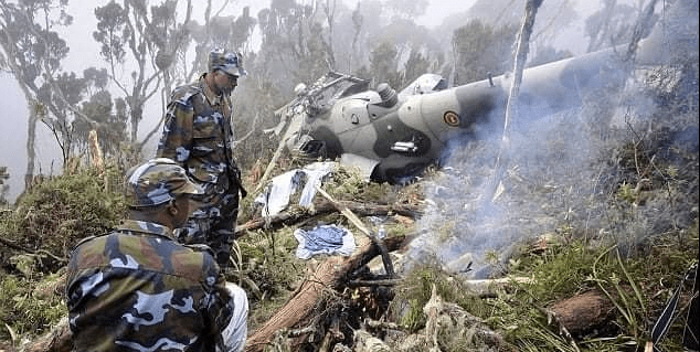 Kenyan Defense Forces at the scene of a chopper that crash-landed in Kajiado West constituency on June 25, 2021(Photo credit: courtesy image/Nyamilepedia)