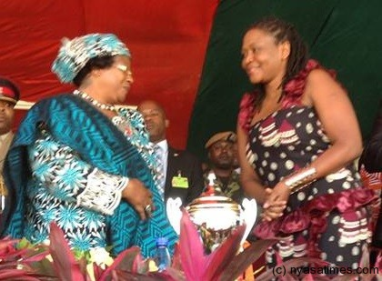 Wendy (right)  with President Banda being welcomed as a PP member