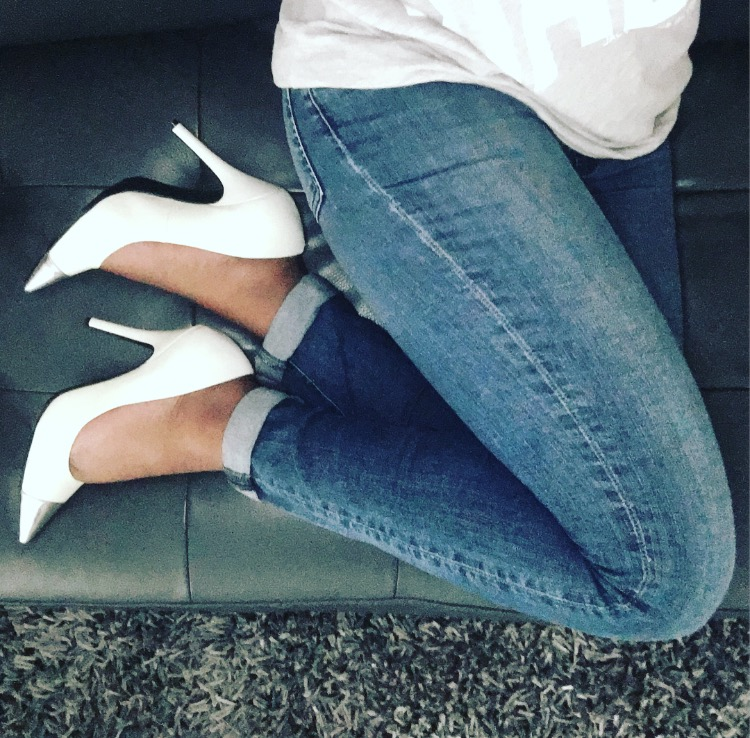 Grey Shirt with Blue Jeans and White Heels