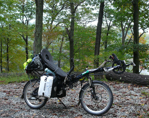 Notice how the Ortlieb panniers mounted here on a Grasshopper fx's a low-rider rack hang into the air stream. Great bags, but inefficient.