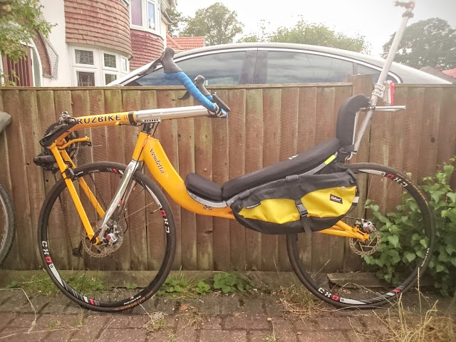 A Radical Design customer* in England shows how he attaches Banana Racers on a Vendetta, giving the bike 25 liters of carrying capacity without a rack. (*I don't know his/her name but I'd really love to credit the photo and creativity to him/her.)