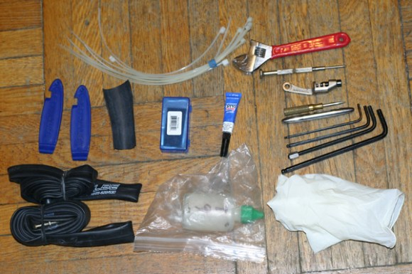 Here's what I currently carry in my day-ride tool kit