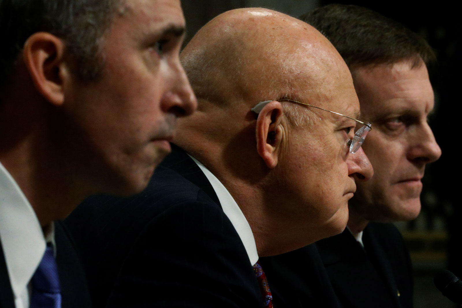 US Defense Under Secretary for Intelligence Marcel Lettre, Director of National Intelligence James Clapper, and National Security Agency Director Michael Rogers testifying before the Senate, Washington, D.C., January 5, 2017