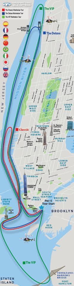 Carte de vol de New York en Hélicoptère