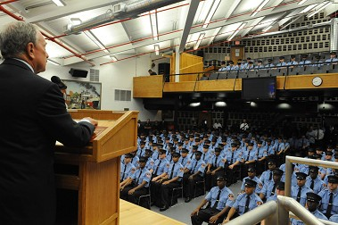 Mayor Bloomberg addresses the new probationary firefighters