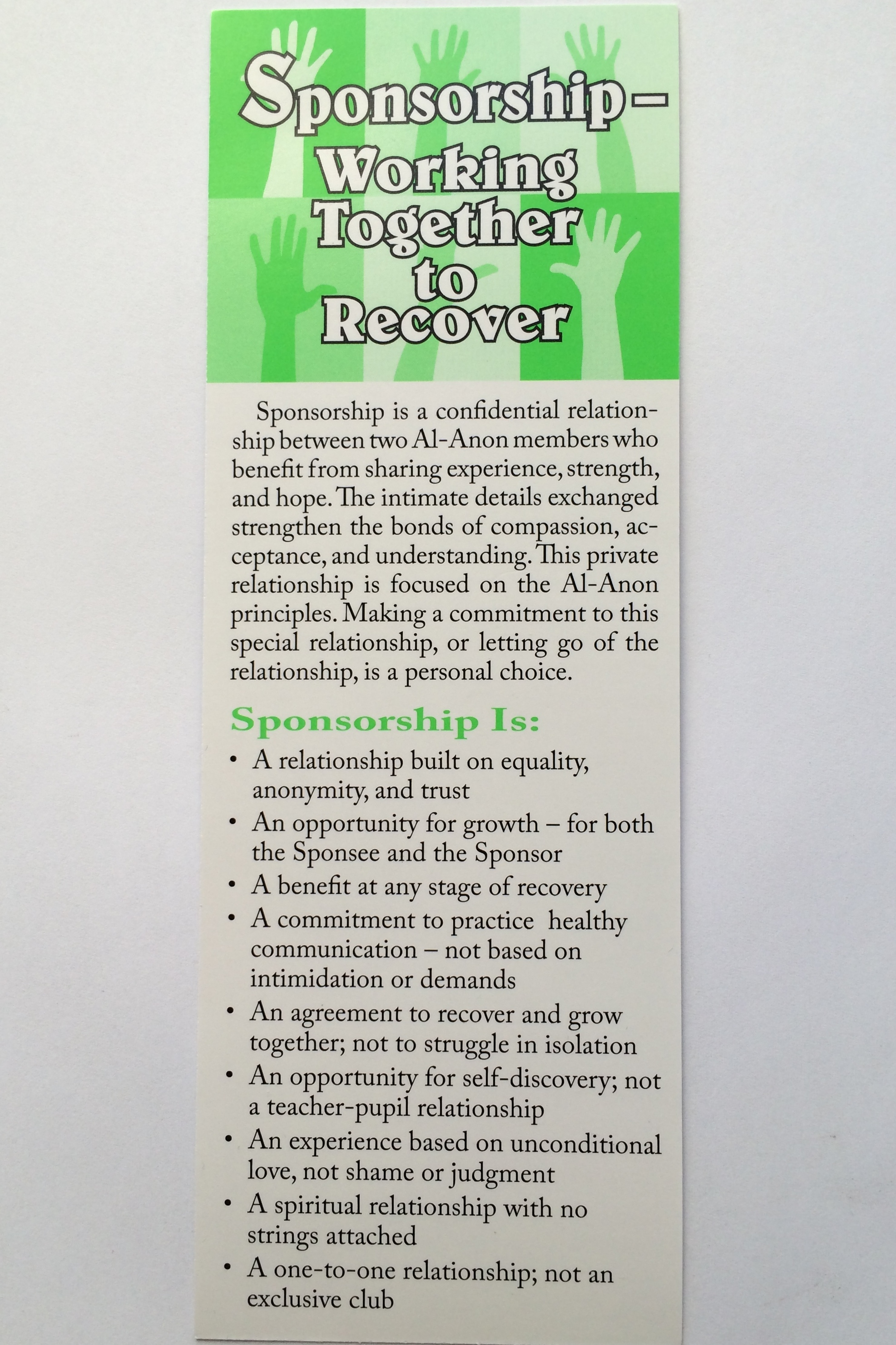 Sponsorship Working Together To Recover Bookmark