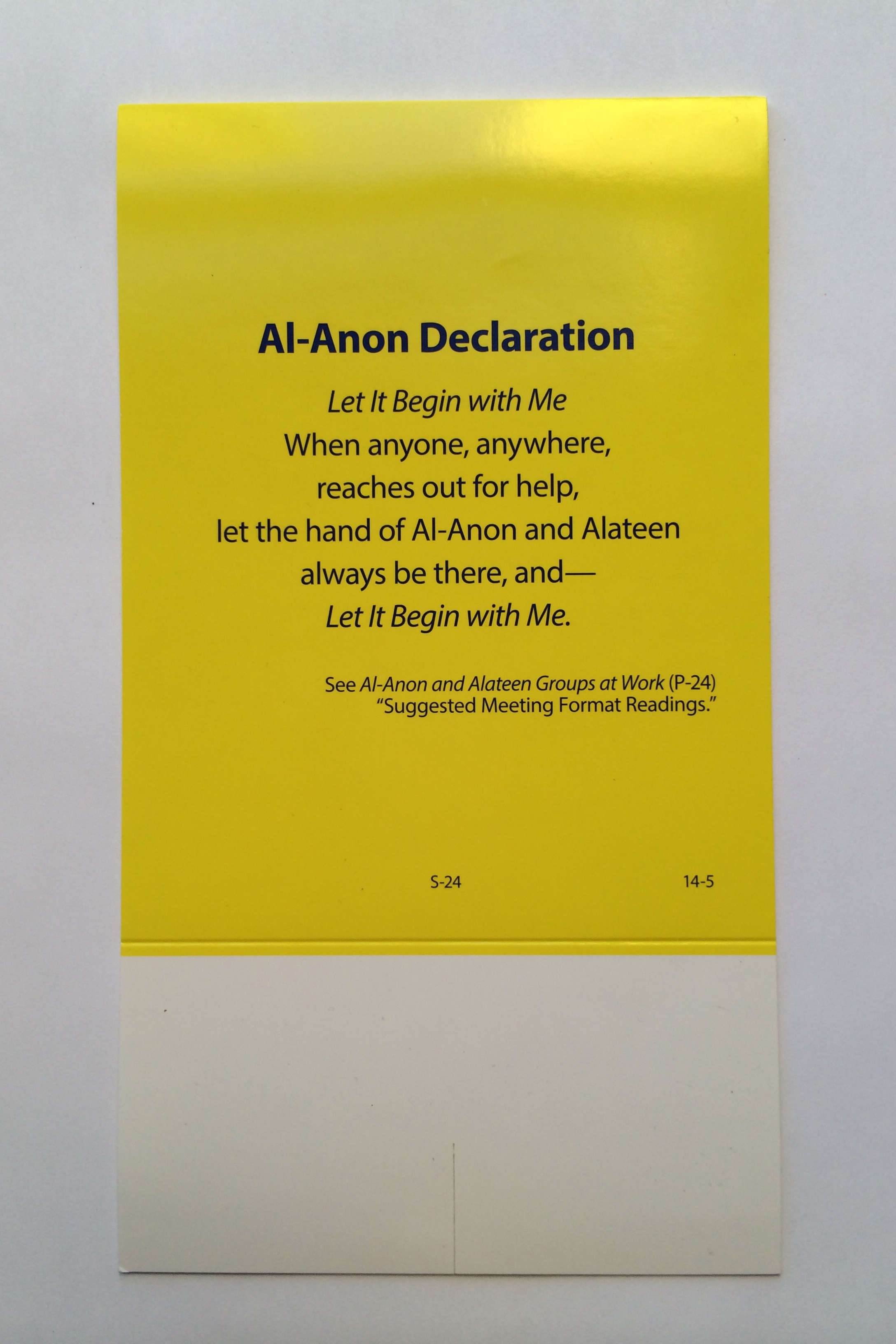 Al Anon Focus Declaration Table Card