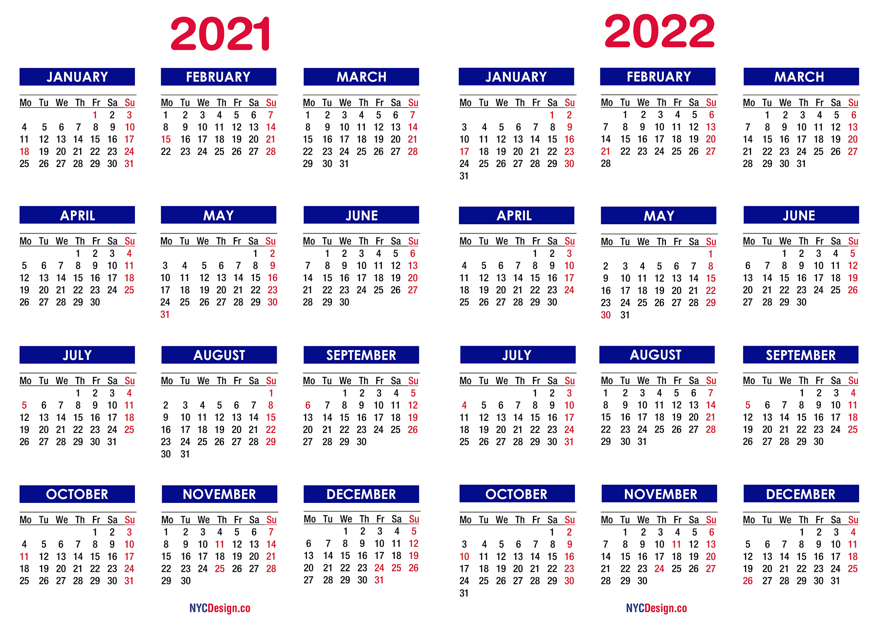 Download 2022 and 2023 pdf calendars of all sorts. 2021 - 2022 Two Year Calendar with Holidays, Printable ...