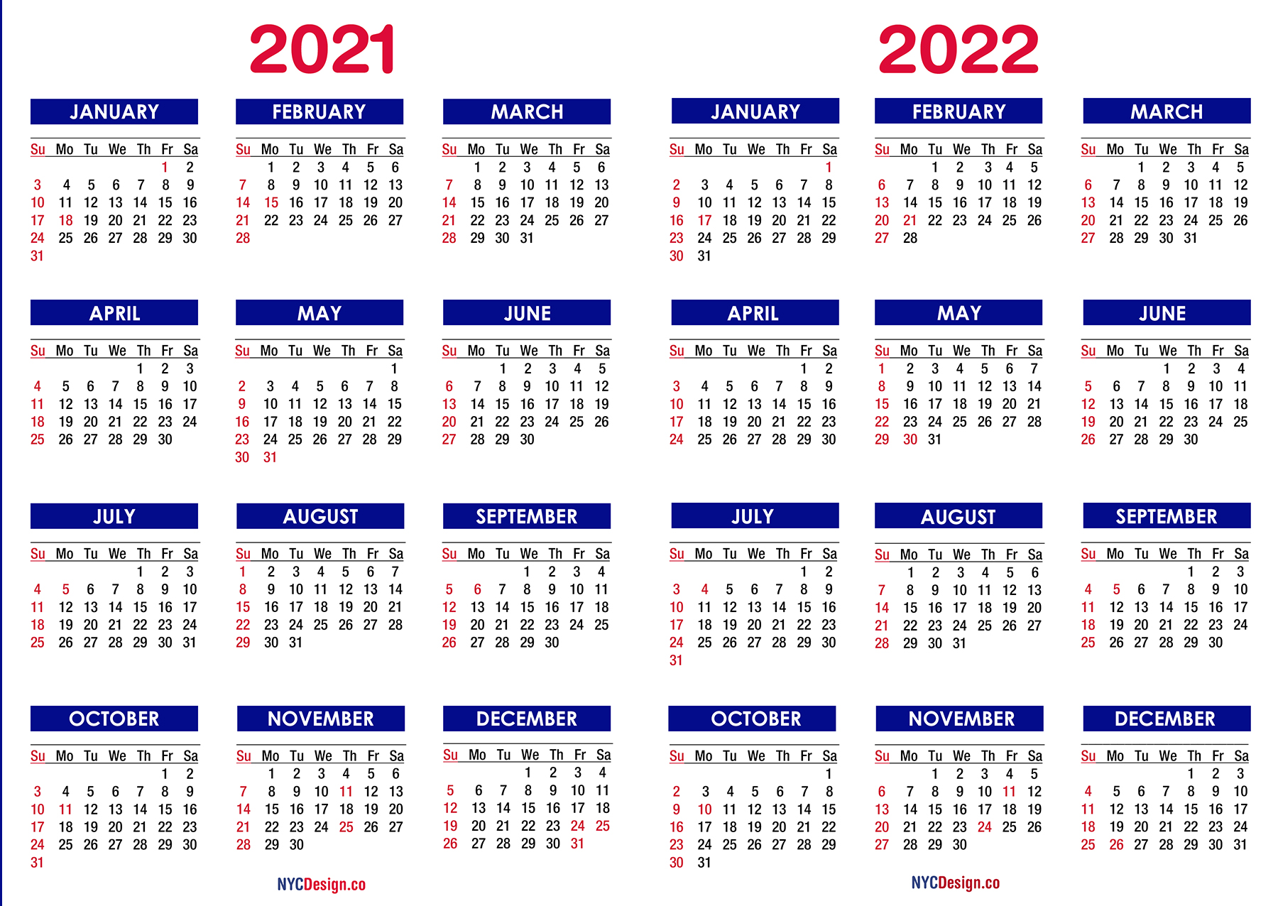 2021 - 2022 Two Year Calendar with Holidays, Printable ...