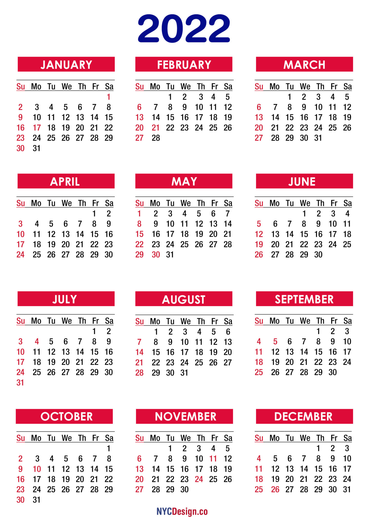 2022 Calendar with Holidays, Printable Free, PDF, Colorful ...