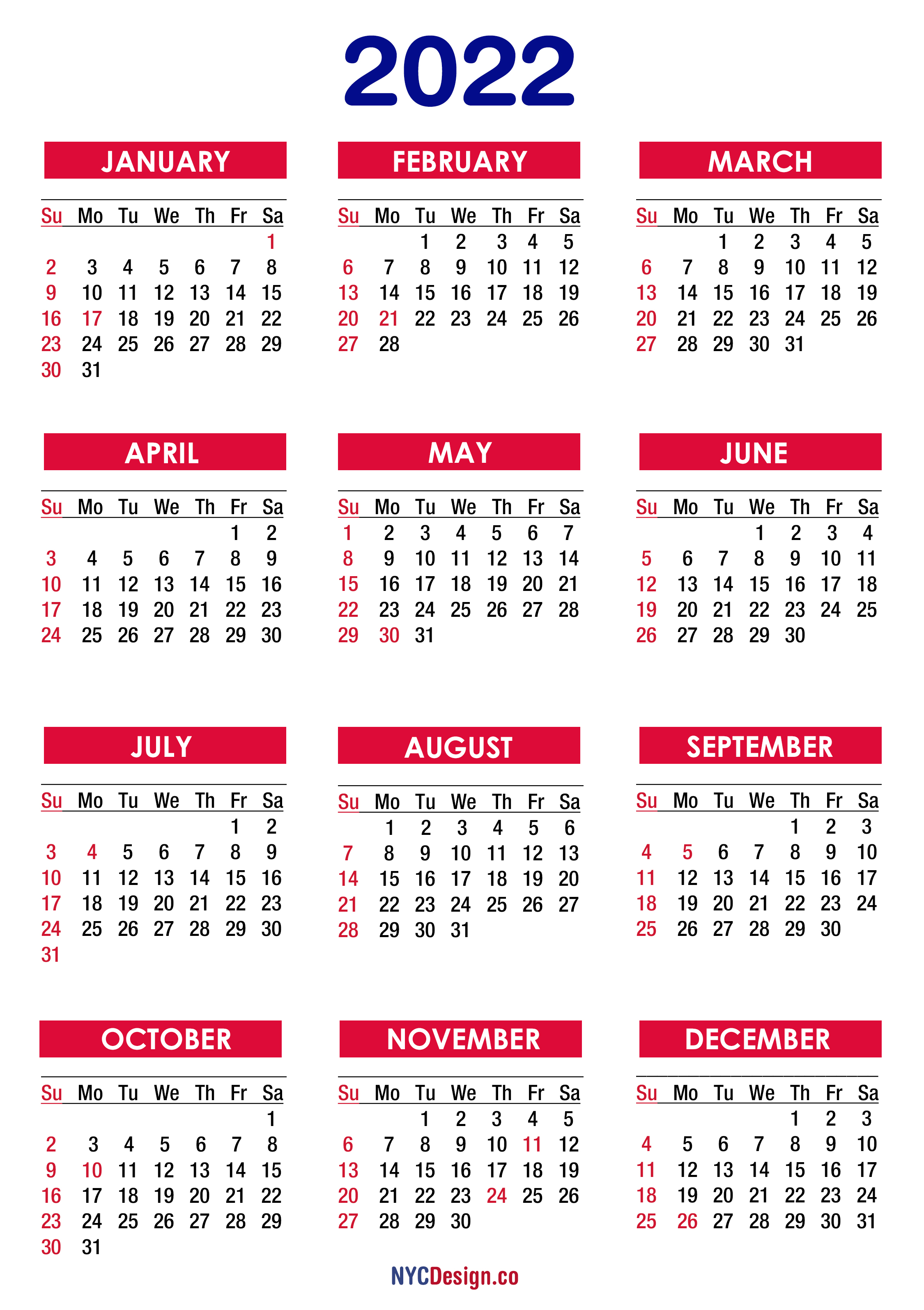 2022 Calendar with Holidays, Printable Free, PDF, Colorful ...