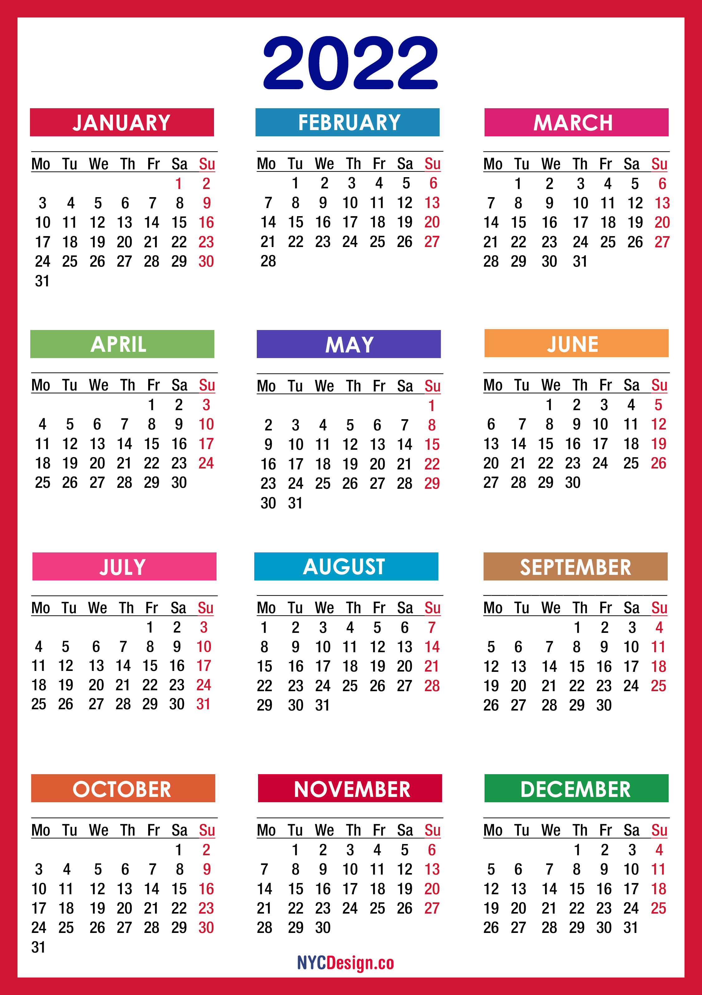 2022 Calendar Printable Free, PDF, Colorful, Red, Orange ...