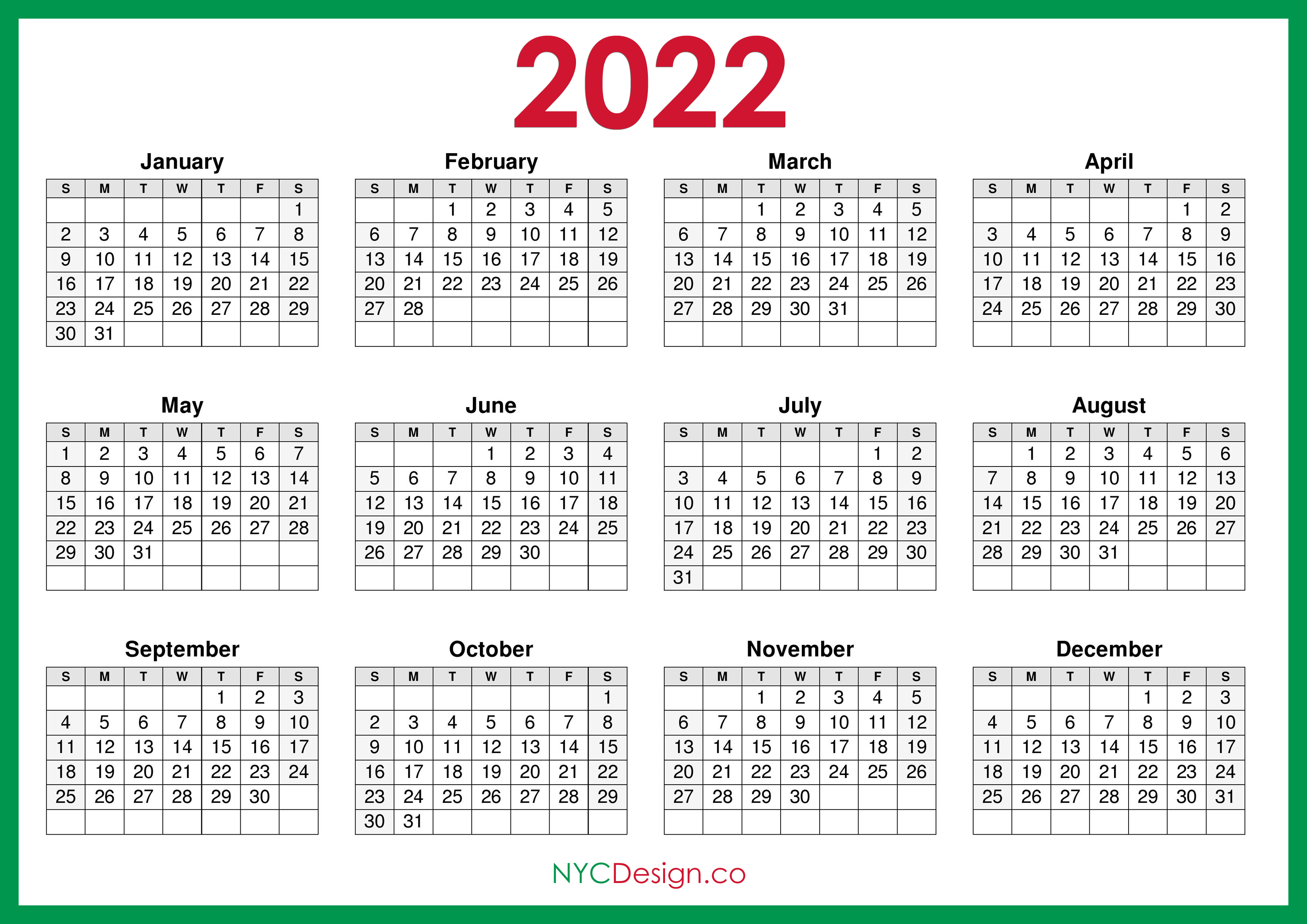 Hundreds of printable august 2022 calendar pdf are ready to download and print australia 2022 calendar with holidays. 2022 Calendar Printable Free, Horizontal, Green, HD ...