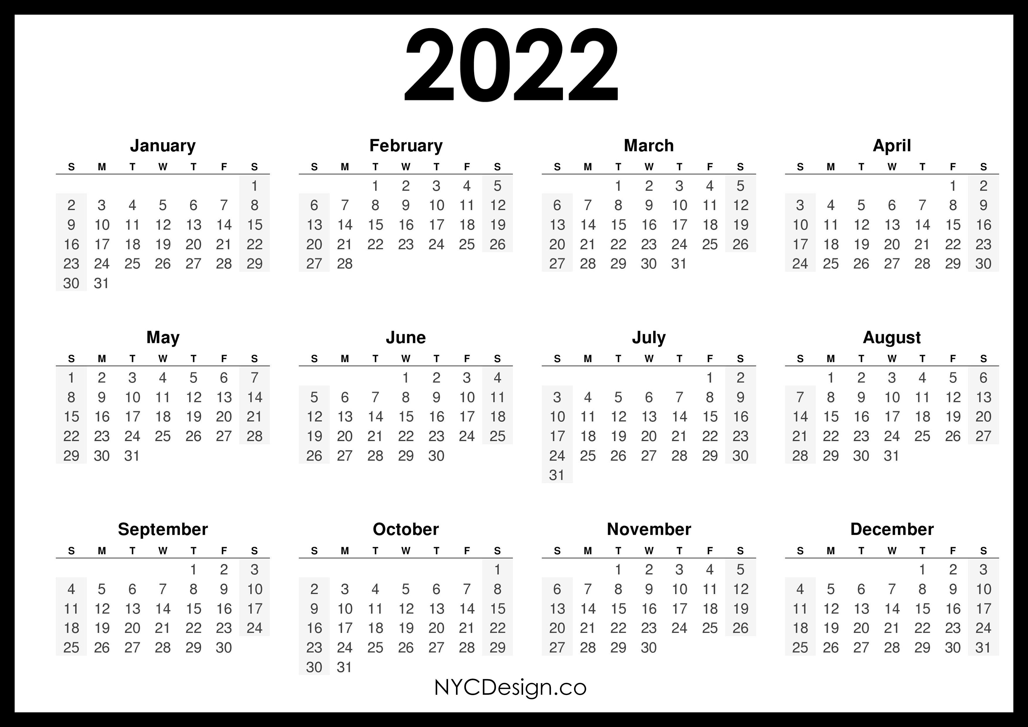 2022 Calendar Printable Free, Horizontal, Black, HD ...