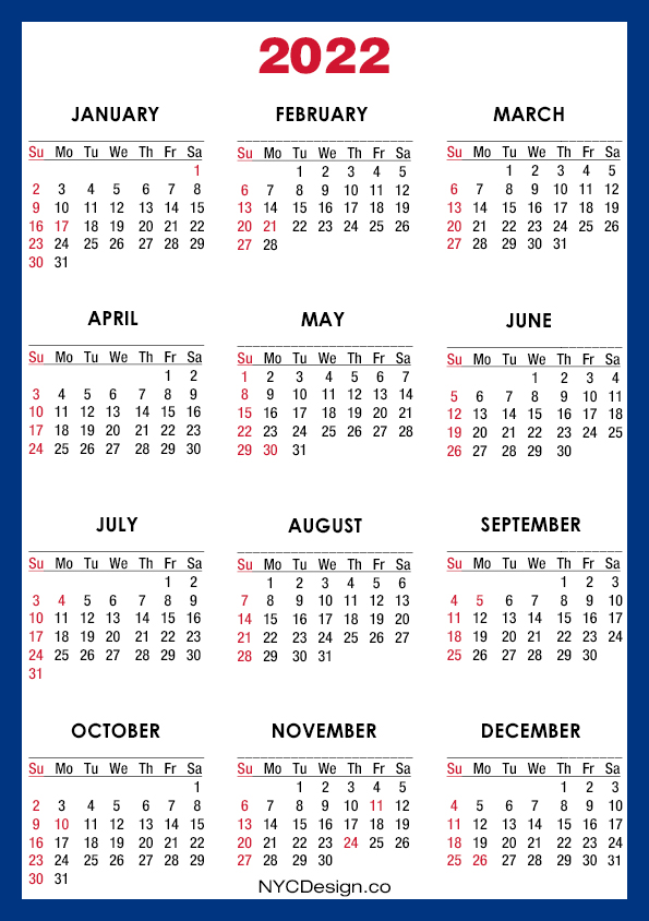 2022 Calendar with US Holidays, Printable - A4 Paper Size ...
