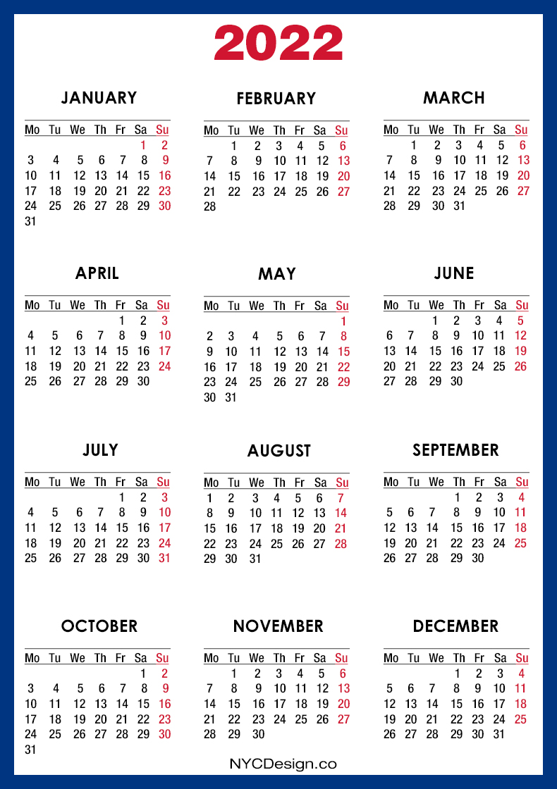 There are so many events and deadlines to ke. 2022 Calendar Printable Free, Blue - Monday Start ...