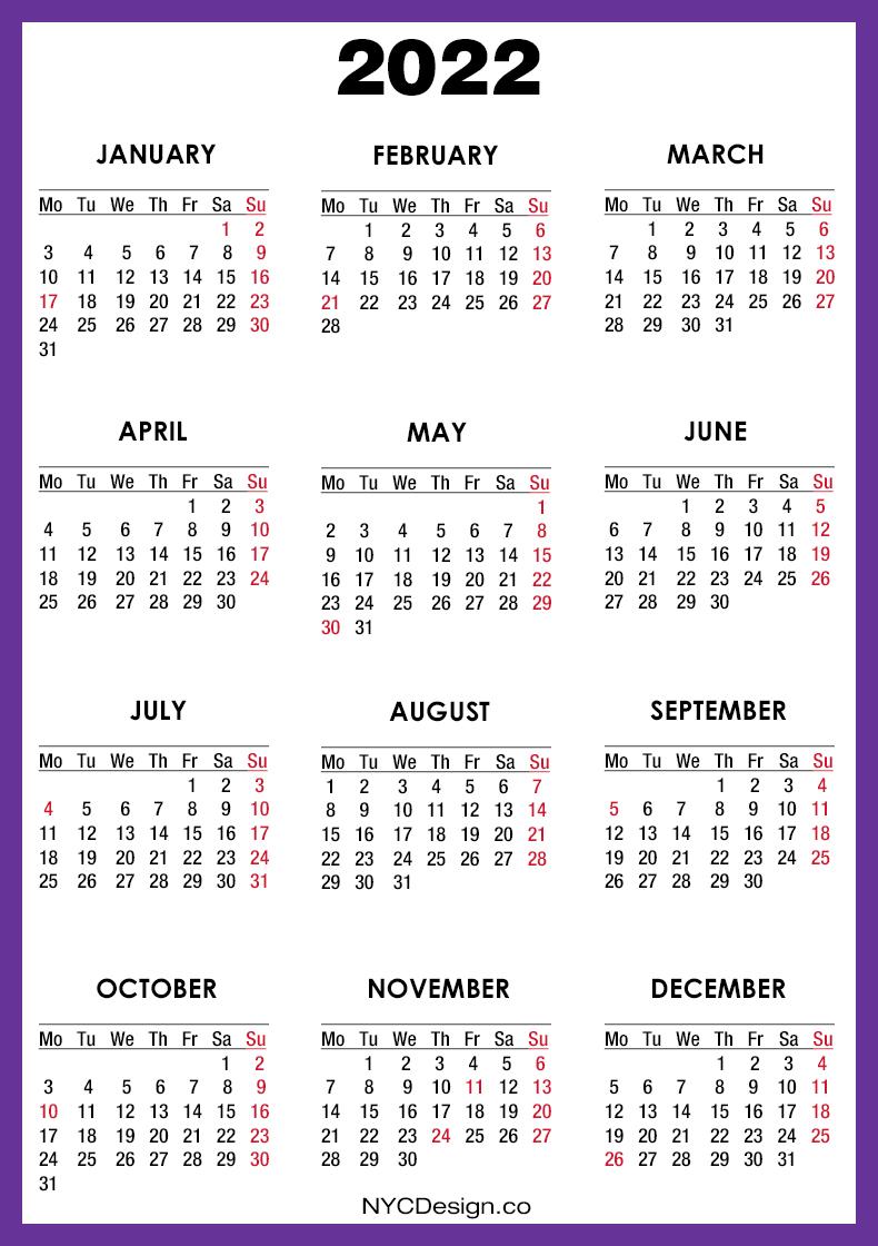 2022 Calendar with US Holidays, Printable Free, Purple ...
