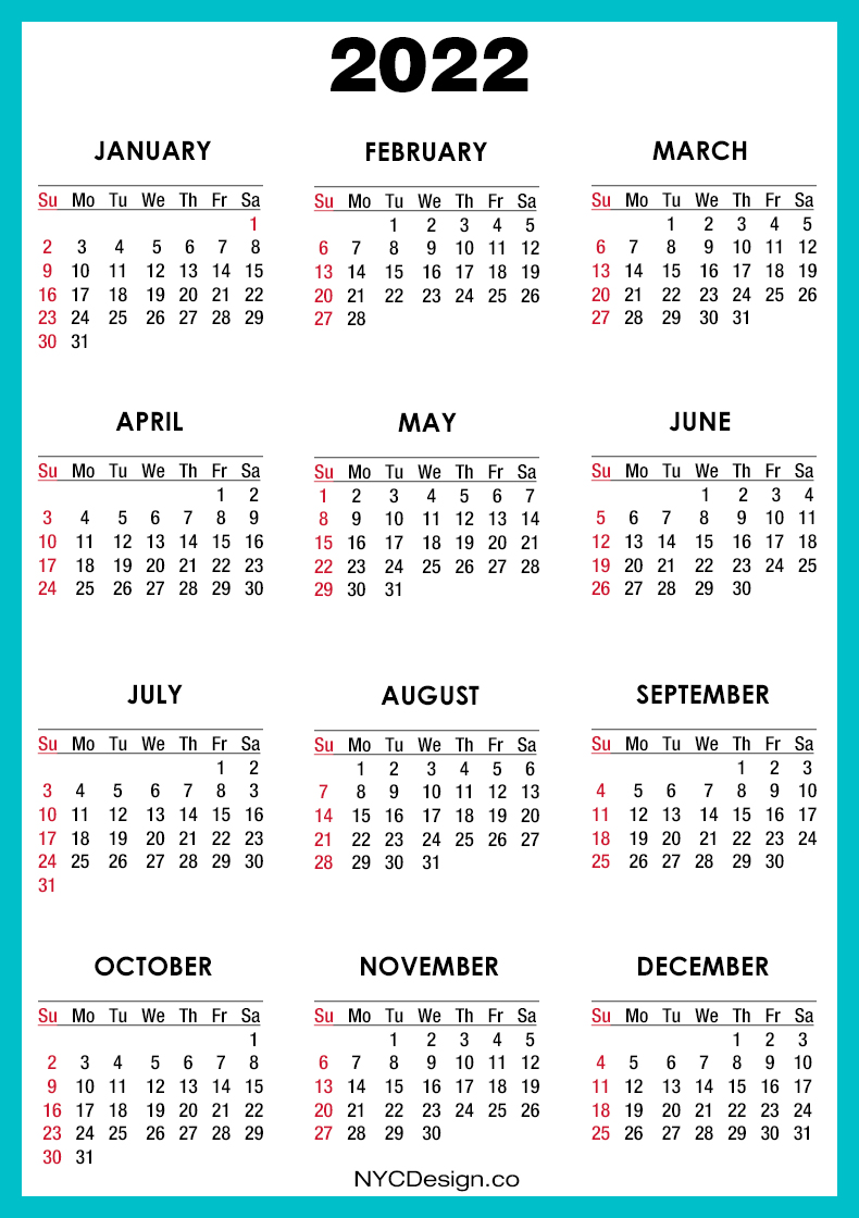2022 Calendar Printable Free, Turquoise - Sunday Start ...