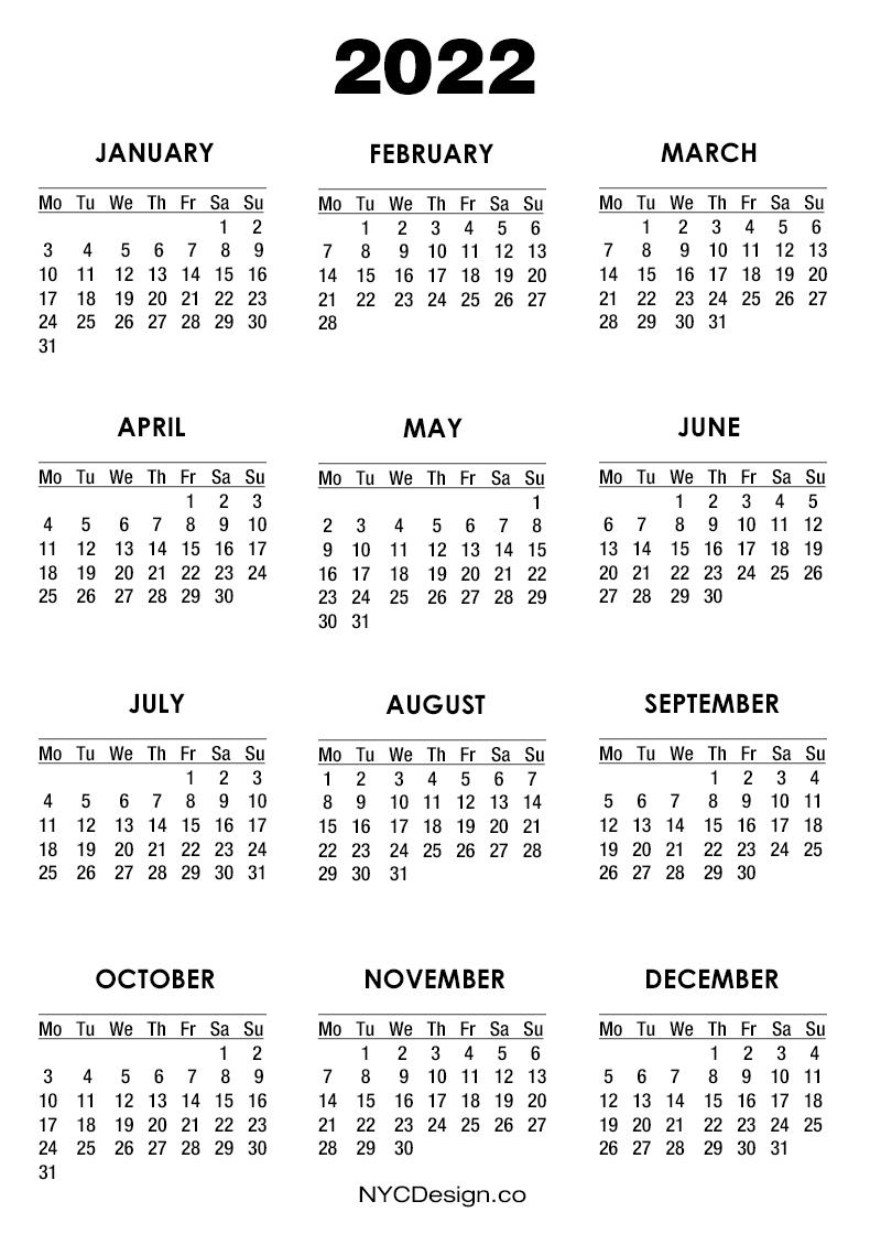 2022 Calendar Printable Free, White - Monday Start ...