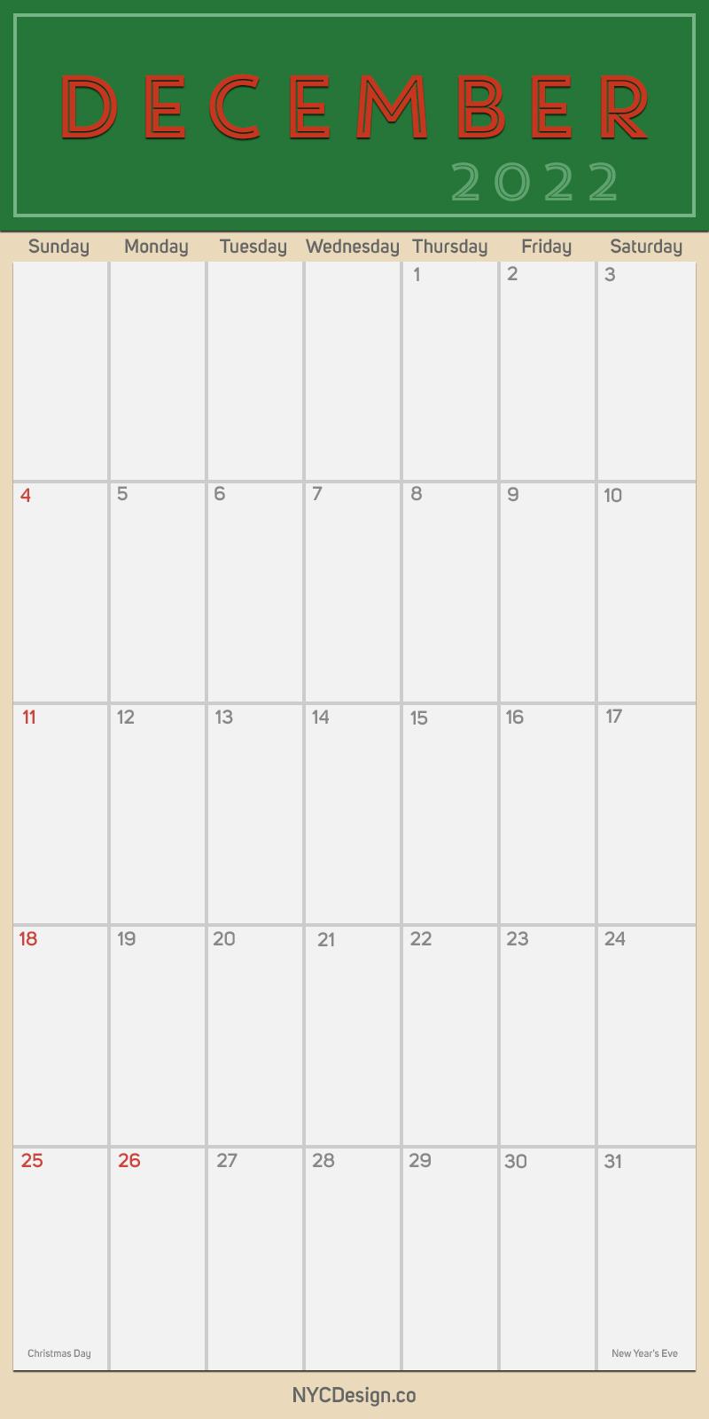 2022 December - Monthly Calendar, Planner, Printable Free ...