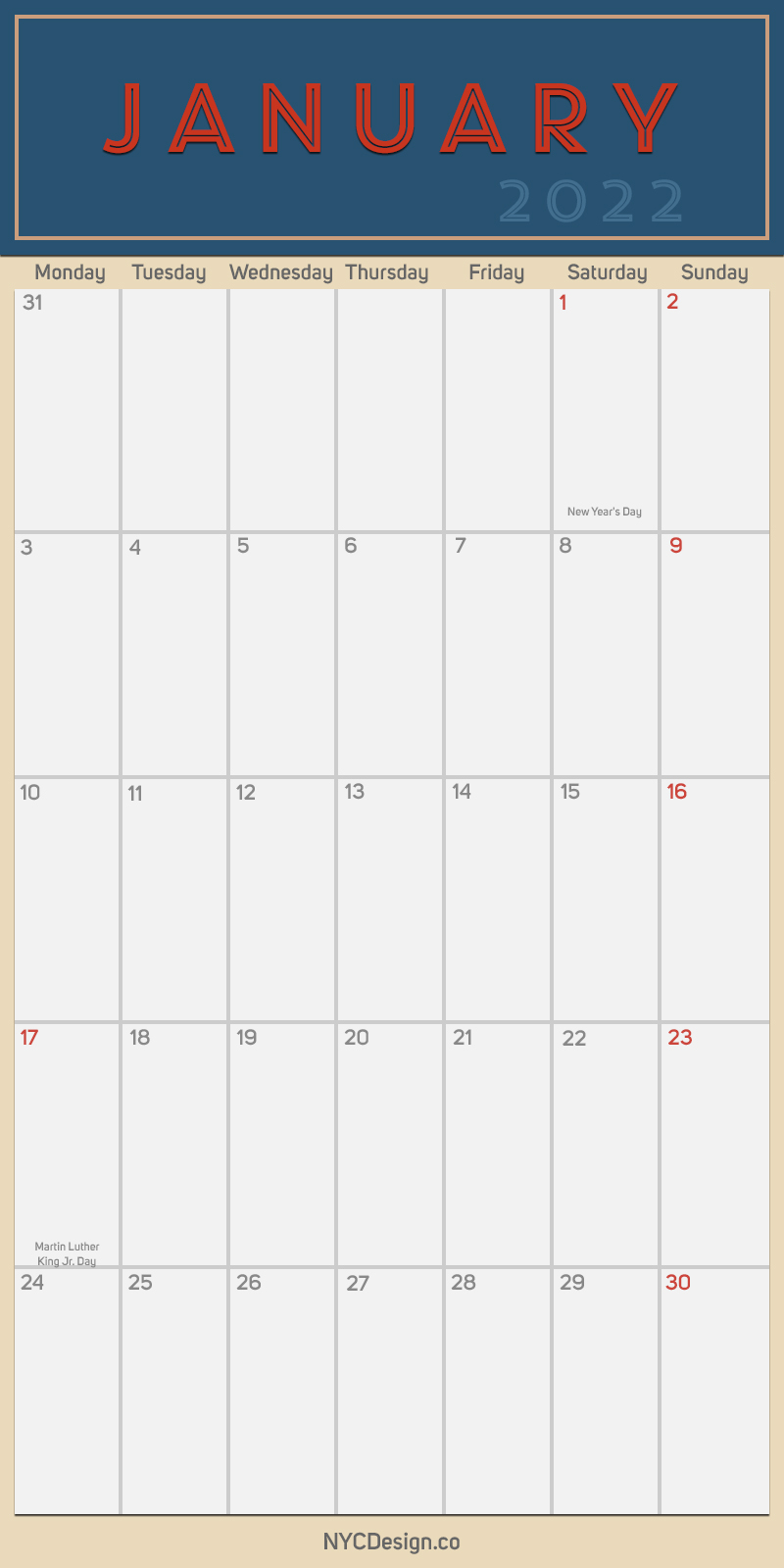 2022 January - Monthly Calendar, Planner, Printable Free ...