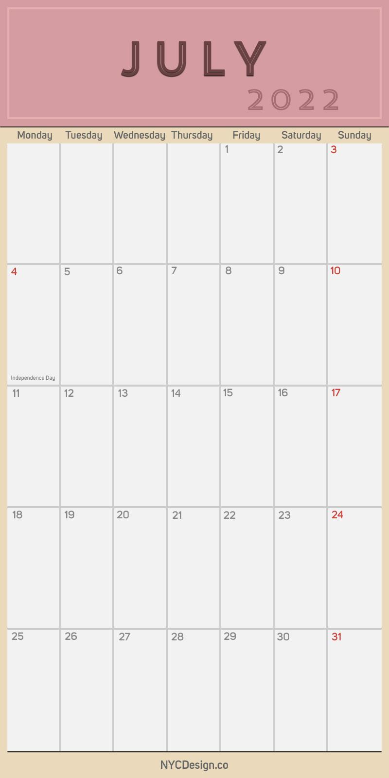 2022 July - Monthly Calendar, Planner, Printable Free ...