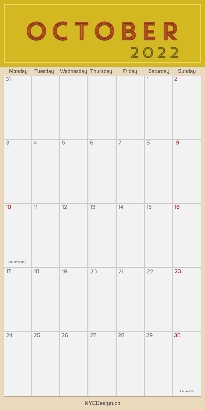 2022 October - Monthly Calendar, Planner, Printable Free ...