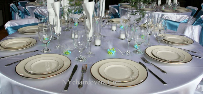 tablecloths and chair covers for rent mission style dining chairs wedding table linens rental 13 00 ny