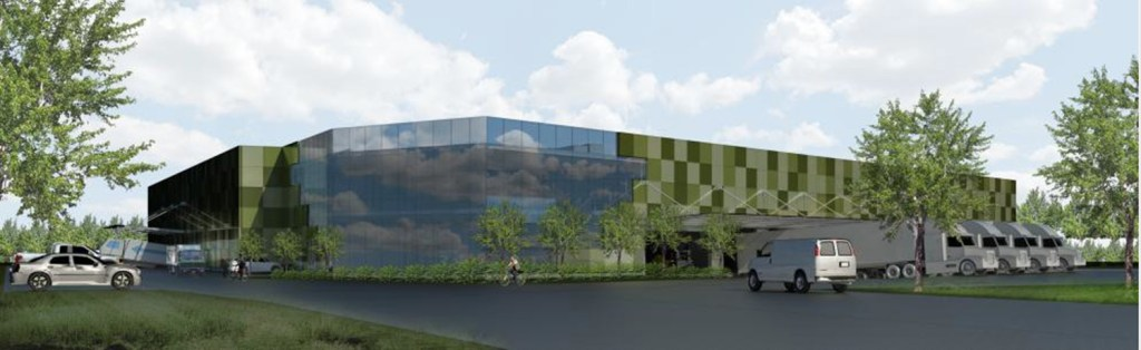 FARM TO TABLE: A rendering of the food distribution and processing center that will open in 2019. Courtesy of GrowNYC