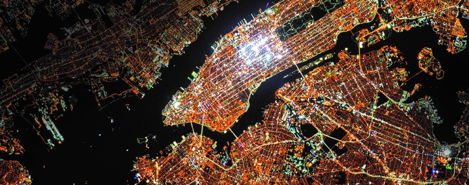 New York City at night shot from above.