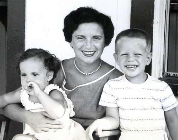 Joyce with two of her children, Linda and John.