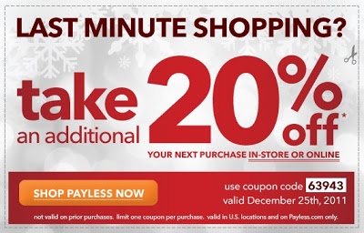 20 percent off at Payless
