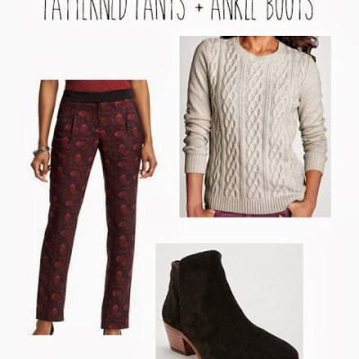 8159eef8a0 Instant Outfit  Crewneck sweater + patterned pants + ankle boots
