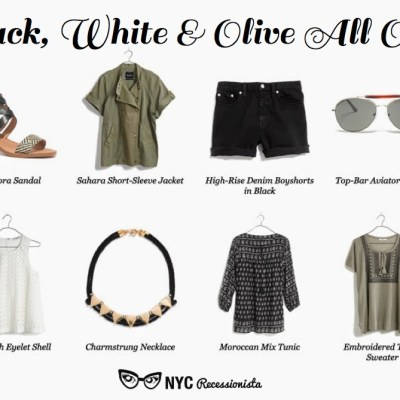Black, white and olive at Madewell