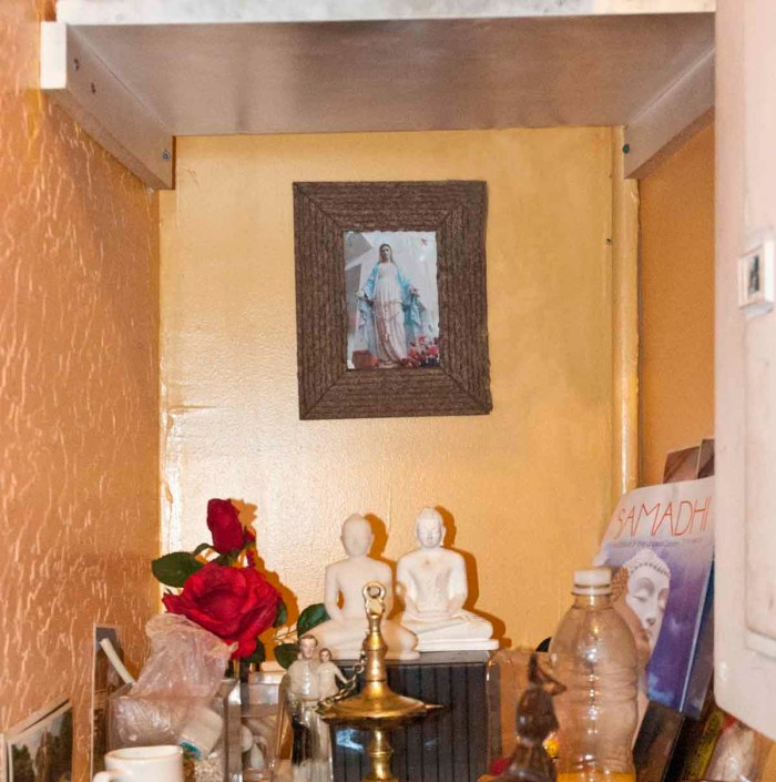Shrine at the San Rasa Sri Lankan restaurant (also known as Lakruwana), which has Catholic and Buddhist staff. Staten Island, 226 Bay Street. Photo: Tony Carnes/A Journey through NYC religions