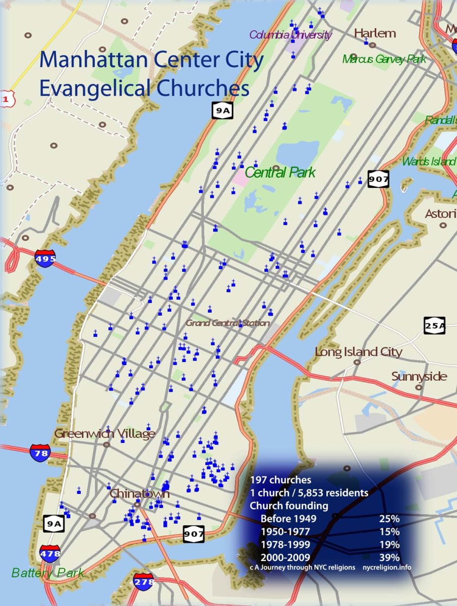 Sixty percent of Manhattan's evangelical churches have started since 1978 -- Washington Times
